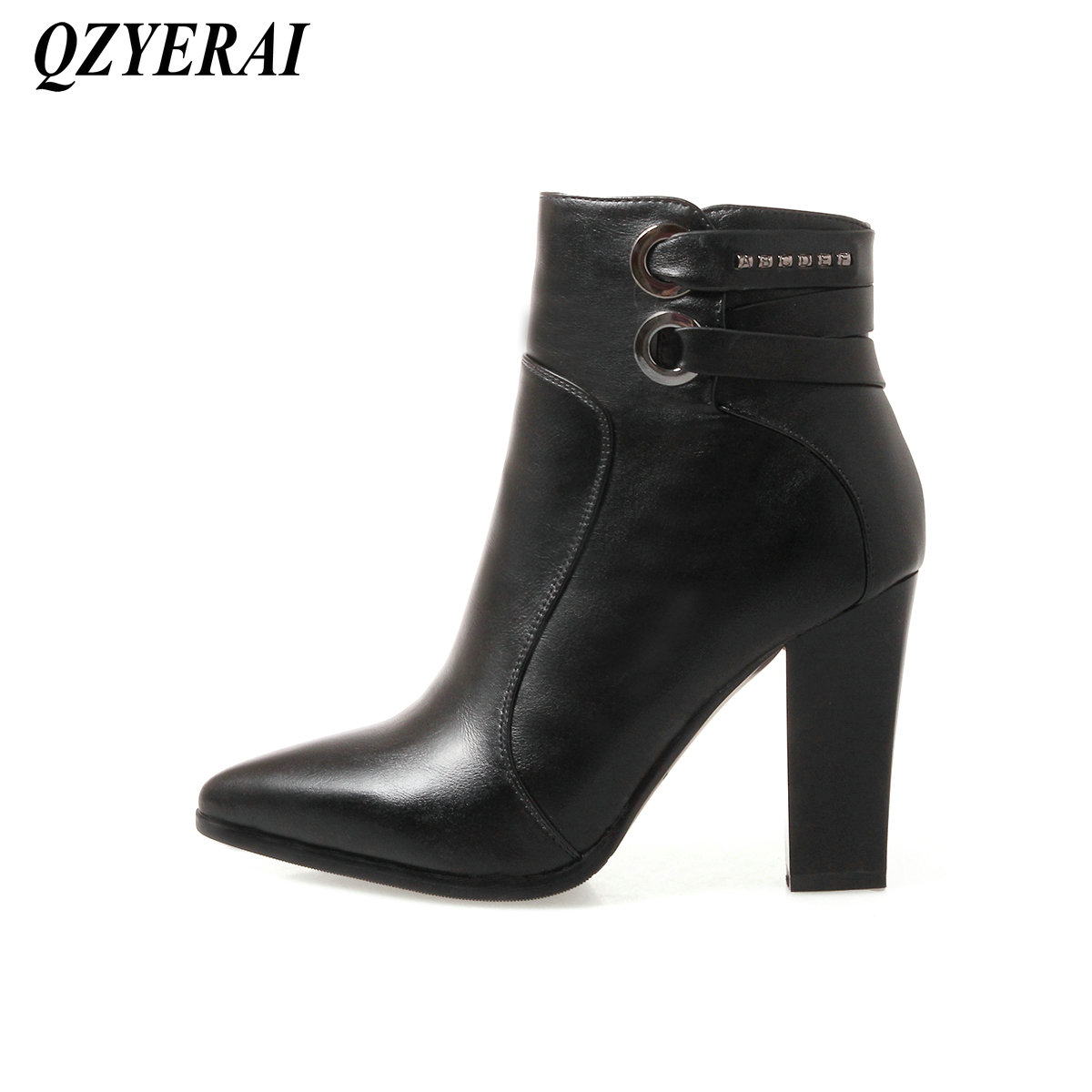 QZYERAI Winter pointed fashion ladies short boots patent leather font b womens b font font b