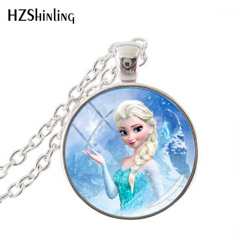 Cartoon Snow Queen Elsa Princess Movie Jewelry Round Pendant Choker Necklaces Handmade Silver Color Chain Necklaces Jewelry