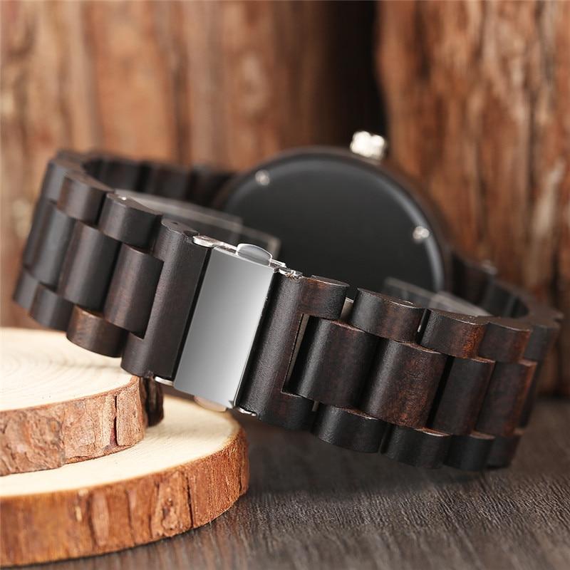 YISUYA Classic Luxury Black Ebony Analog Quartz Wristwatch Men - Տղամարդկանց ժամացույցներ - Լուսանկար 3