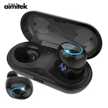 Aimitek Q18 TWS Bluetooth Headset Mini True Wireless Stereo Earphone Sports Car Earbud Charging Case with Microphone for Phones