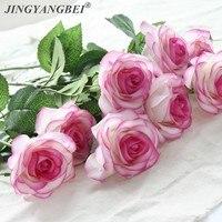Ramos de flores artificiales de látex para decoración del hogar, ramos de flores de Rosa artificiales con 6 cabezales de tacto Real para una boda