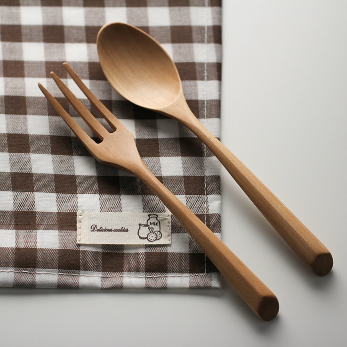 Original Nature Wood Color Dinnerware Sets Exquisite Eco Friendly Tableware  Japanese Superba Wooden Spoon And