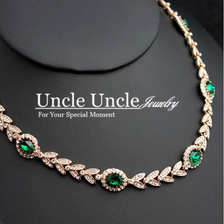 Luxury!!! Rose Gold Plated Austrian Crystal Green Erstwhile Memory Retro Design Wedding Necklace Wholesale