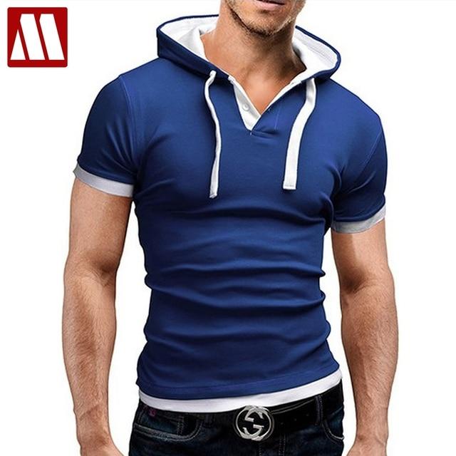 New Arrival Summer mens Hooded t shirt novelty fashion cap t shirts men  casual crop short