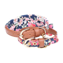 PU Leather Dog Collar Bow Flower Print Small Leash Bandana Outdoor Pet Walking Lead