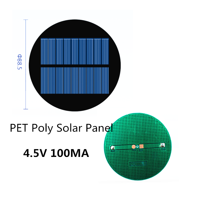 Mini Circular PET Poly Solar Panel 4.5V 100MA for DIY Toy/Solar Lawn Light Sensor Lights/ Solar Flashlight