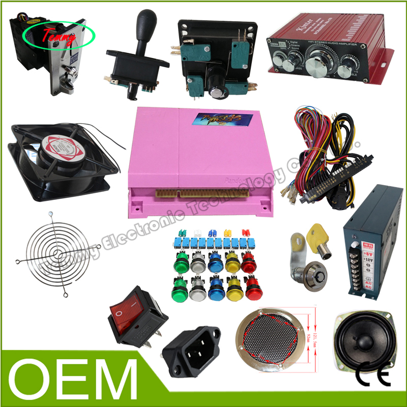 Newest arcade cabinet kit Pandora 4S 680 in 1 Mutli Game Board Power Jamma Harness wire joystick Buttons Arcade Kits