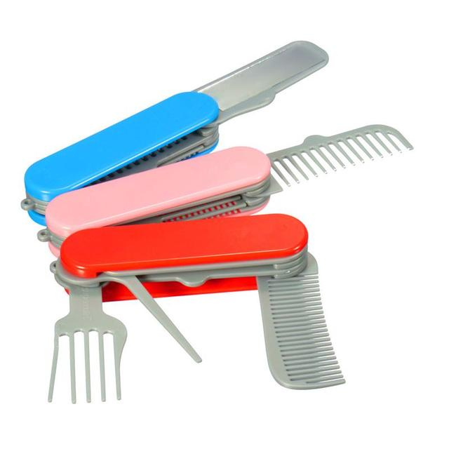 1piece Foldable Mirror Combs Set Multi Function Army Knife Shape