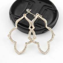 Cut-out Pave Crystals Magnolia Frame Dangle Drop Earrings for Women Cut Out Setting Rhinestone Drops trendy cut out bar noctilucent necklace for women