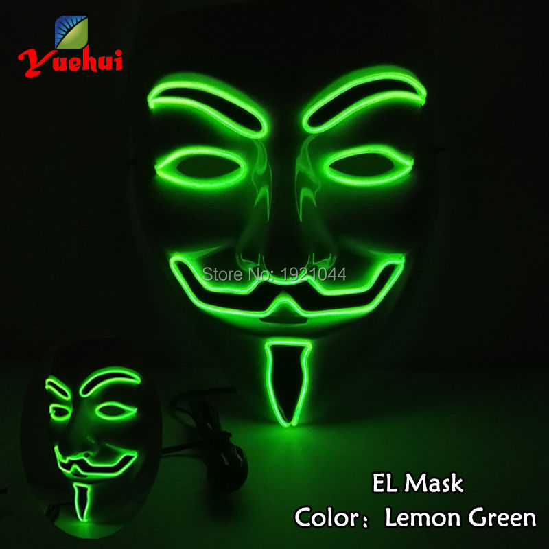 Flashing Light Color Lemon green EL Wire Glow Party Mask V for VENDETTA Carnival mask Voice Control