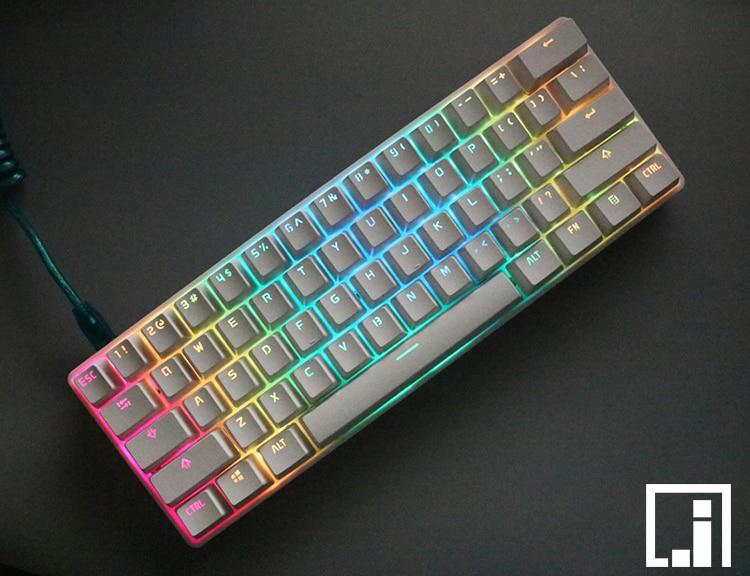 mechanical keyboard backlit PBT white legend shine LED lighting translucent keycap cherry mx black top PBT
