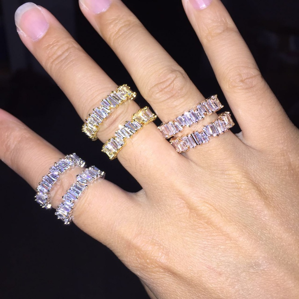 Thin Baguette T Ring Engagement Handmade Clear Trapezoid Stone Rings For Women Fashion Finger Accessories Anel Wedding Band