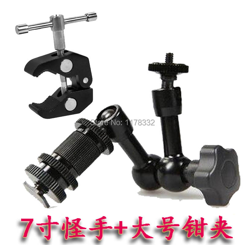2in1 5pcs 7 Inch Magic Arm 7 arm+ 5pcs Super Clamp for DSLR Rig Camera to Monitor LED Lamp Camera movie kit D7100 750D 70D