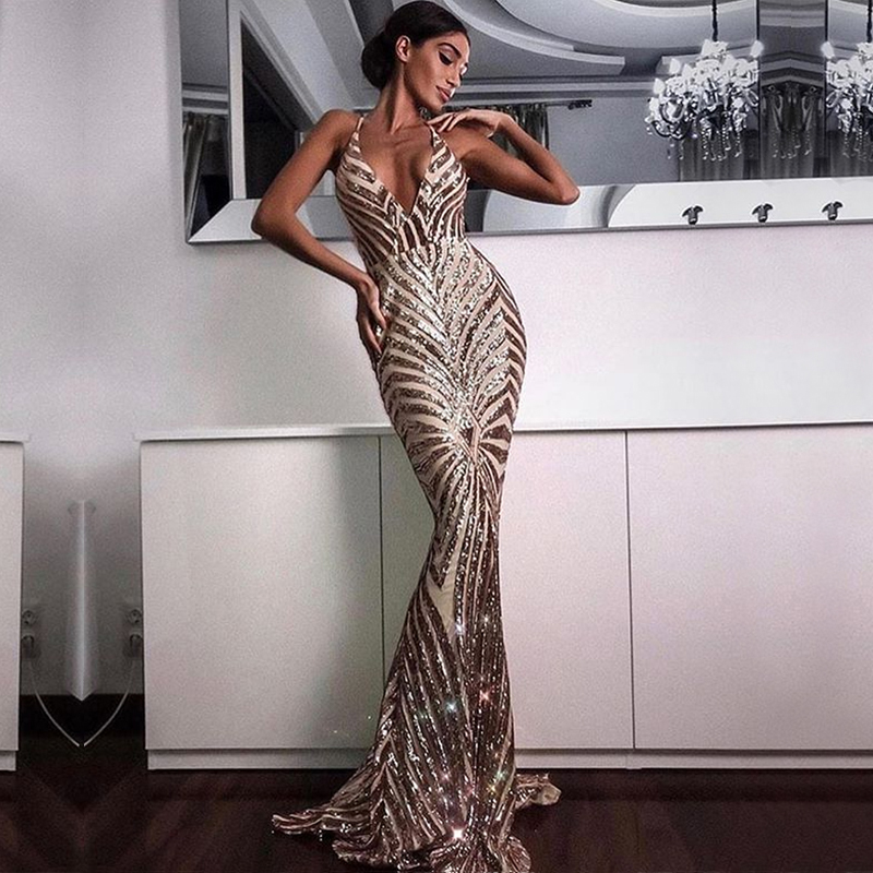 2018 New Fashion Hot Selling Sparkly Sequin Party Dress Women Long Dresses For Party Cocktail Gown Vestidos Wholesale Online