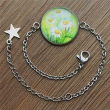 Daisy Flower Bracelet 20mm Round Glass Cabochon Stainless Steel Bracelets Women Fashion Gifts Dropshipping
