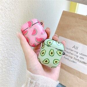 Image 3 - חמוד אבוקדו אבטיח מט נרתיקי אוזניות עבור אפל אלחוטי Bluetooth אוזניות Airpods 1 2 הגנת עור אביזרי כיסוי