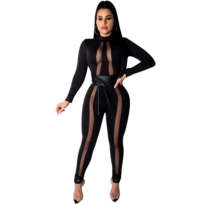 Sexy Bodycon Jumpsuits For Women Clothes 2019 Club Jumpsuits Black Transparent Mesh Patchwork Sashes Long Pants Romper Overalls