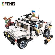 Military War City Thunder Transport  Car building blocks Army Vehicle figure bricks Compatible toys for children gift