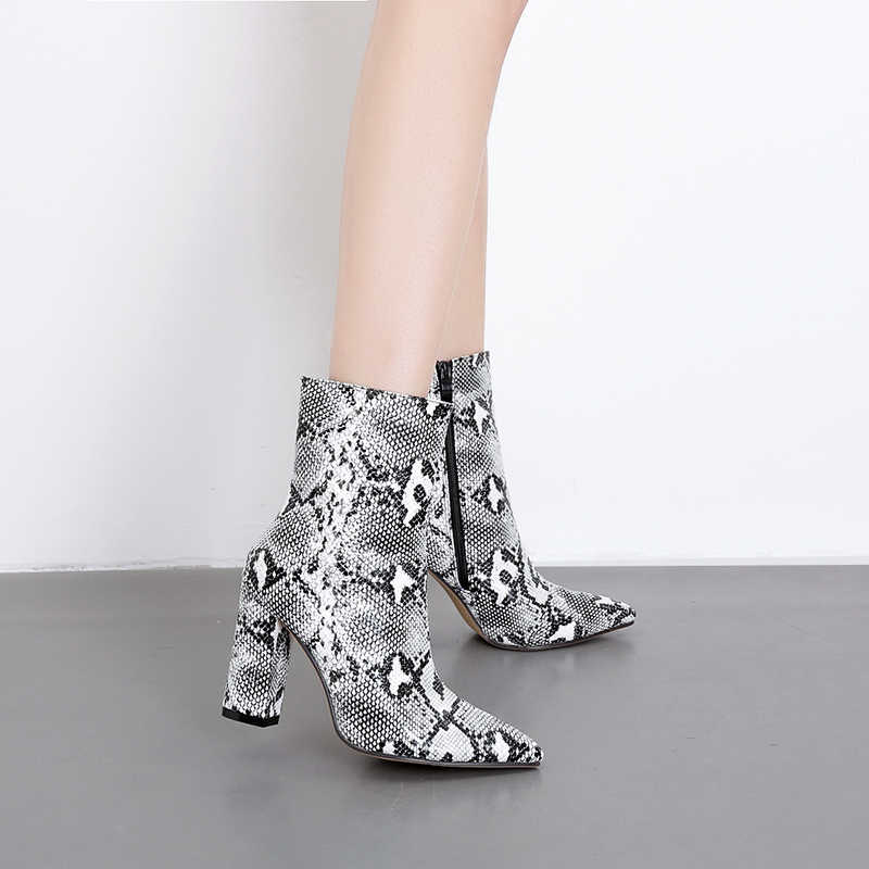789578a2ef73 Woman Shoes Snake print Zipper Ankle Boots Sexy High Heels Pointed toe boot  Casual Ladies Winter