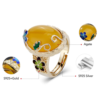 Agate Adjustable Handmade Ring6