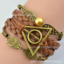 Multilayer Bangle Antique Bronze harry potter magic hallows bracelet, harry potter bracelet, owl wing Personalized bracelet(China (Mainland))