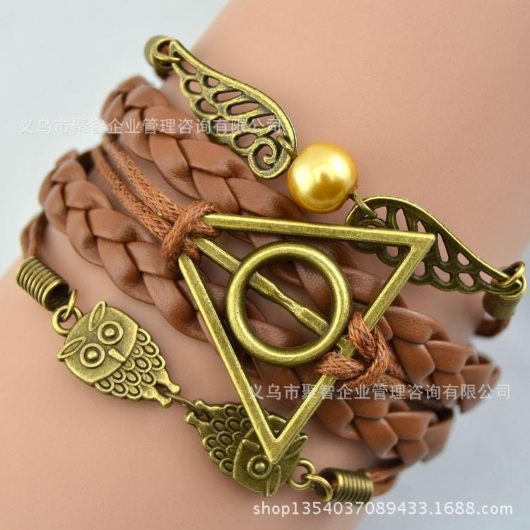 Multilayer Brazalete de Bronce Antiguo harry potter pulsera hallows magia, harry potter pulsera, owl