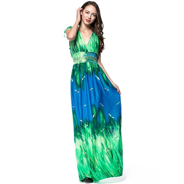c624da527 Vestidos largos de verano 2018 Summer Women Plus Size 6XL 7XL Boho Dress  for Holiday V Neck Sleeveless Long Maxi Beach Dress