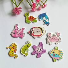 40 шт., серия морских животных, стильная деревянная пуговица, смешанный узор для шитья, деревянные пуговицы, аксессуары для детской одежды, ручная работа