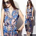 2016 Spring Summer European Style Womens V Neck Sleeveless Floral Printed Jumpsuits , Female Slim Fashion Casual Slim Overalls