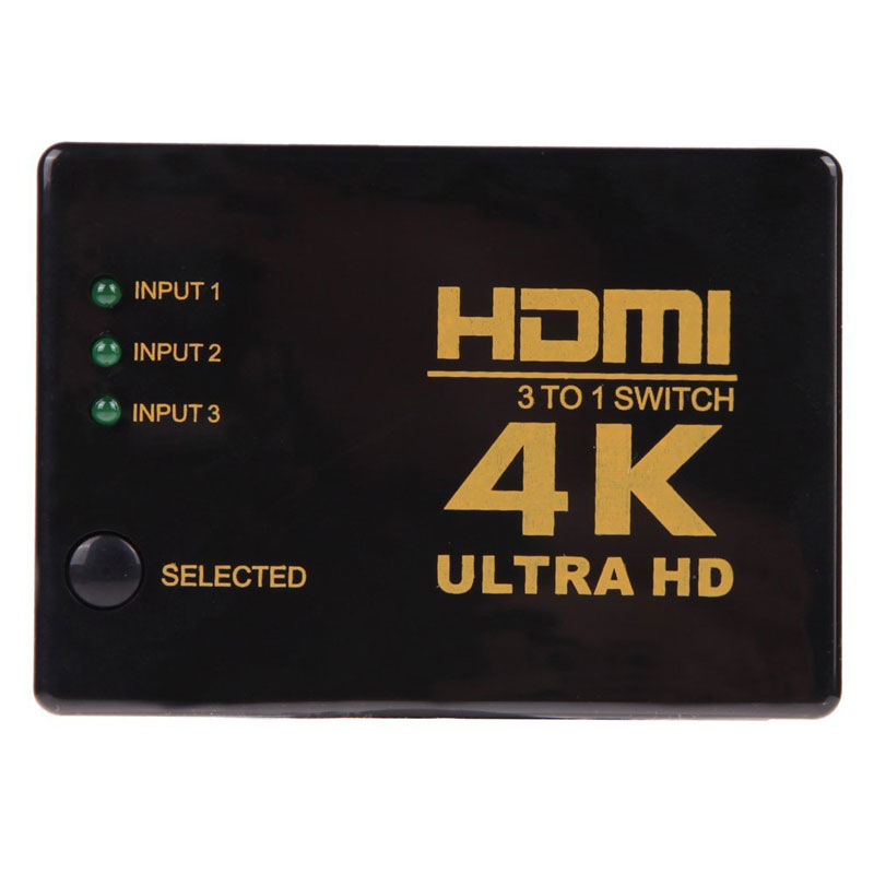 цена на AHHROOU 2017 High Quality 4K*2K 3 to 1 Switch HDMI Switcher HDMI Hub Splitter TV Switcher Ultra HD For HDTV PC For PS3 Xbox360
