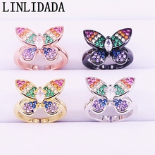 6Pcs CZ Rainbow Rings For Women, Colorful Micro Pave Zirconia Butterfly Jewelry Mix Color