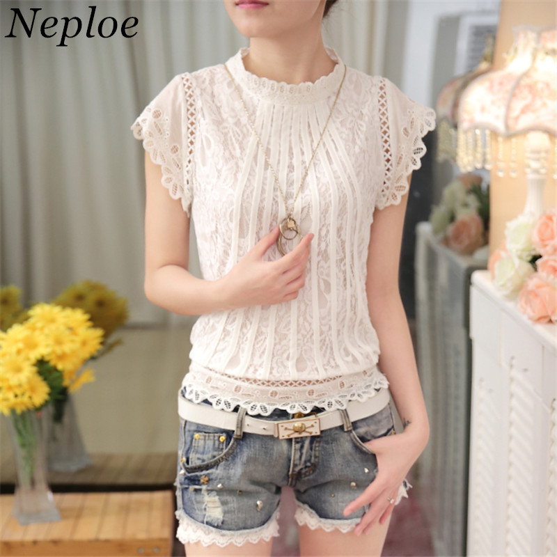 eb5408747e95f1 Blusas Femininas Summer Women Fashion Clothes Crochet Hollow out Lace Blouse  Short Sleeve White Black Slim