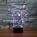 Lindo Pokemon Pikachu Ir Figura de Acción de Juguete LLEVADO 3D Mesa de Ilusión lámpara 7 Color Acrílico Nightlight Mejor Regalo para Los Niños Juguetes De Iluminación