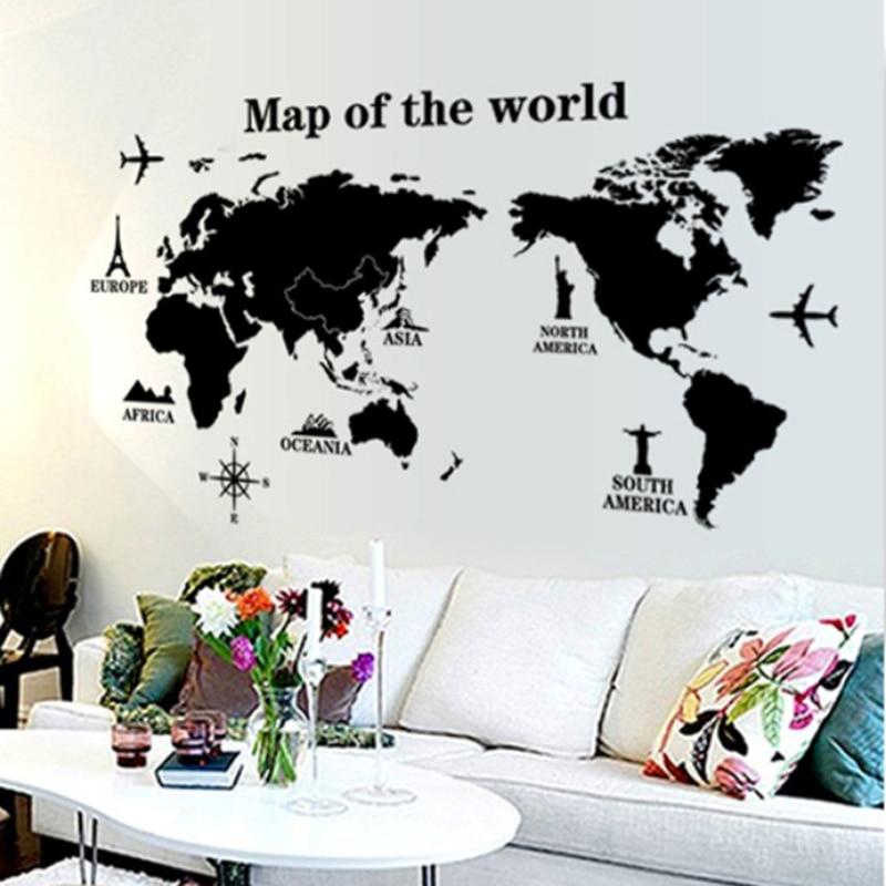 Black International world map DIY Vinyl Wall Stickers Kids love Home Decor office Art Decals creative 3D Wallpaper decoration