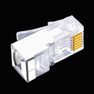 Image 4 - 50 قطعة RJ11 RJ12 6P6C طويلة الجسم ، موصل خط الهاتف FTP 6 الأساسية رئيس الكريستال الهاتف ، وحدات التوصيل درع قذيفة النحاس