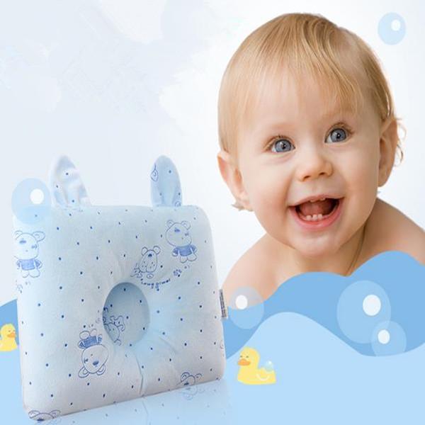 1 pcs 100% Do Bebê Do Algodão Almofadas Azul/Rosa Super Macio Travesseiro Memória Lavável e Removível Travesseiro de saúde pescoço proteção