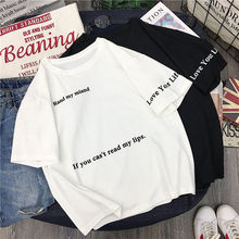 cotton 2019 NEW Women's t-shirt Short Mesh Korean Clothes letter printing Kawaii Aesthetic Oversized White Tops Female KM6602
