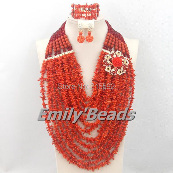 цены Free Shipping! 2015 Fashion Orange Coral Beads Jewelry Set Charms Nigerian Wedding African Jewelry Set High Quality CJ357