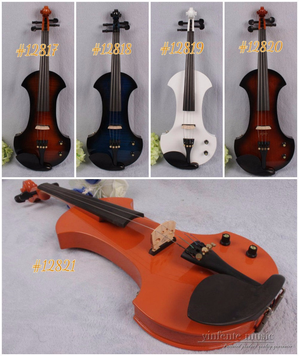#12817# New 4 string 4/4 Electric violin Solid wood hand add fret electric violin one 4 string 4 4 violin electric violin acoustic violin maple wood spruce wood big jack green color