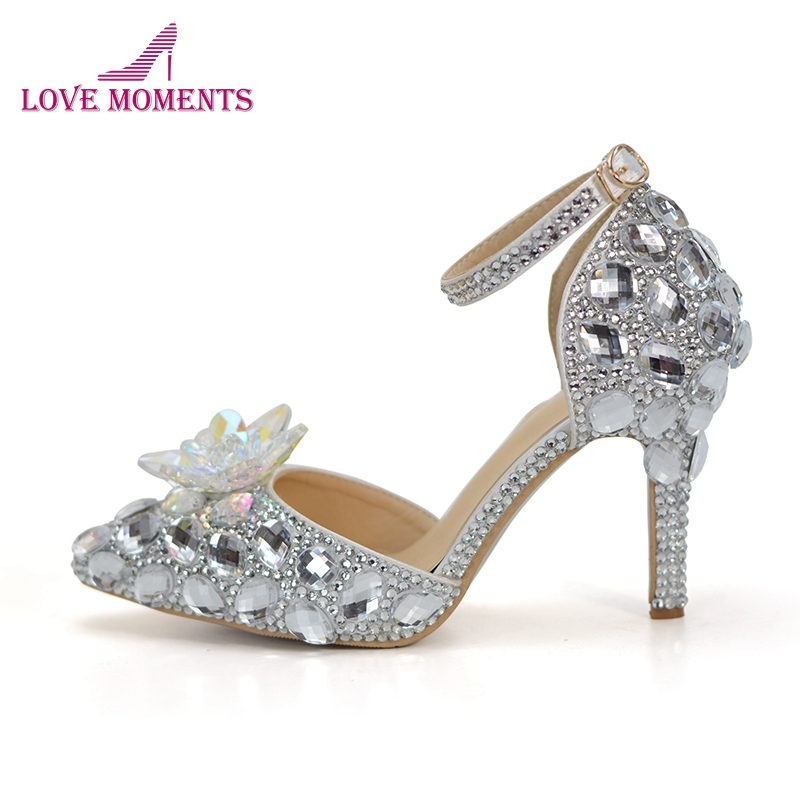 New Designer Silver Rhinestone Wedding Shoes with Crystal Flower Cinderella Prom Shoes 3 Inches Pointed Toe Bridal Dress Pumps
