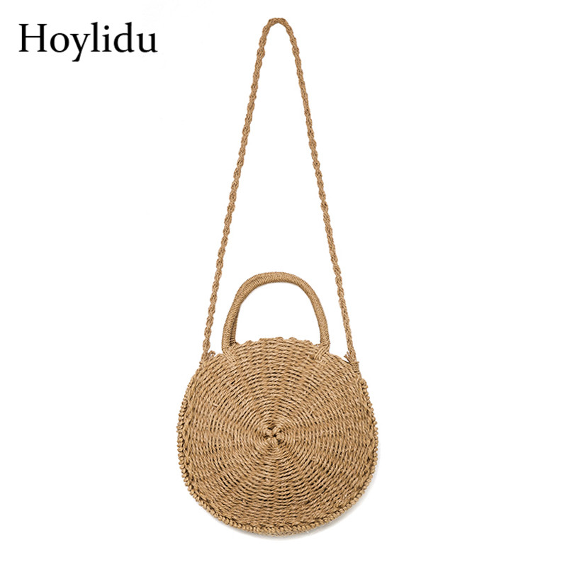 2018 Women Handmade Weave Shoulder Bag Round Rattan Straw Bags Bali Bohemian Summer Beach Handbags Female Circle Crossbody Bag