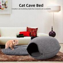 2 стиля кошачья пещера для домашних животных портативная кошка кровать молния войлочная ткань домик для кошек кровать гнездо корзина для кошек с подушкой для кошки котята домашних животных