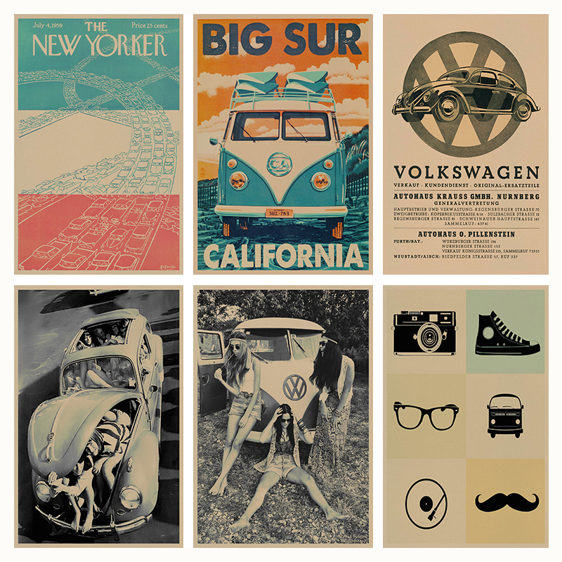 vintage classic volkswagen car vw type mini bus retro poster retro kraft paper bar cafe home