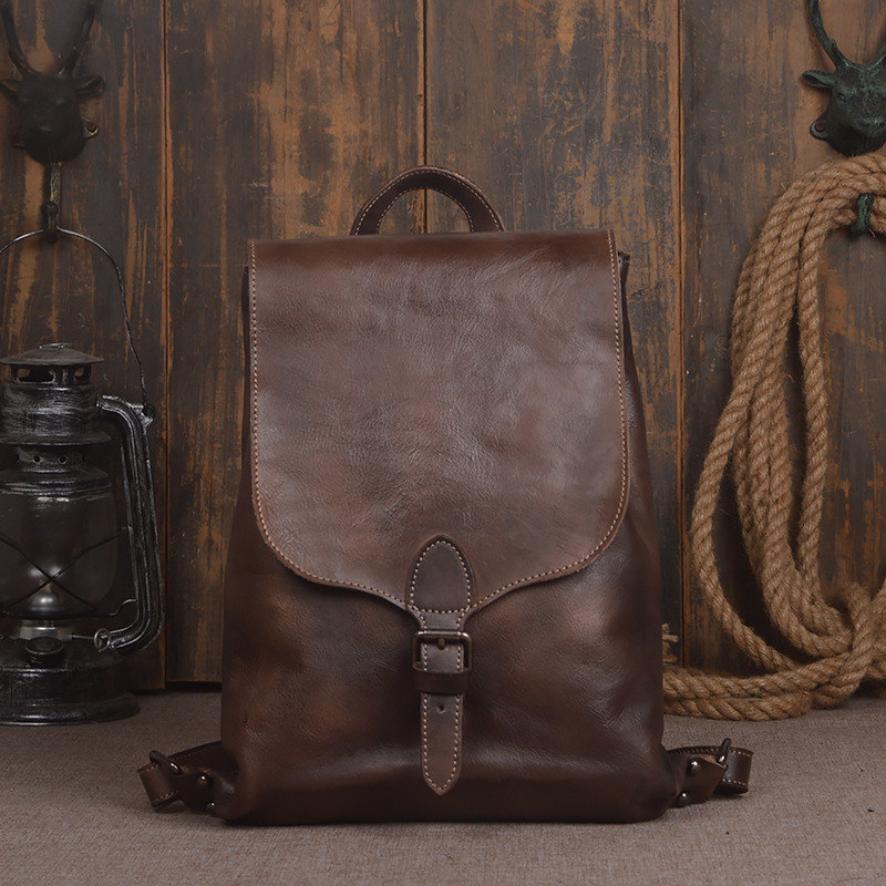 Luggage & Bags Punctual Nesitu High Quality Vintage Brown Vegetable Tanned Genuine Leather Women Men Backpacks Female Male Travel Bags M9019 Modern And Elegant In Fashion Men's Bags