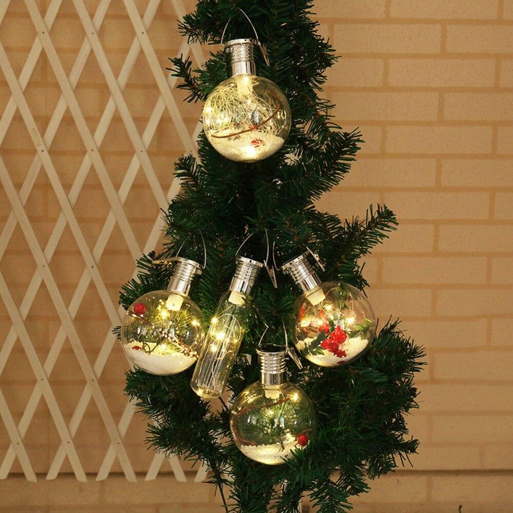 Solar Powered Christmas Tree Decorative Clear Ball Bulb ...