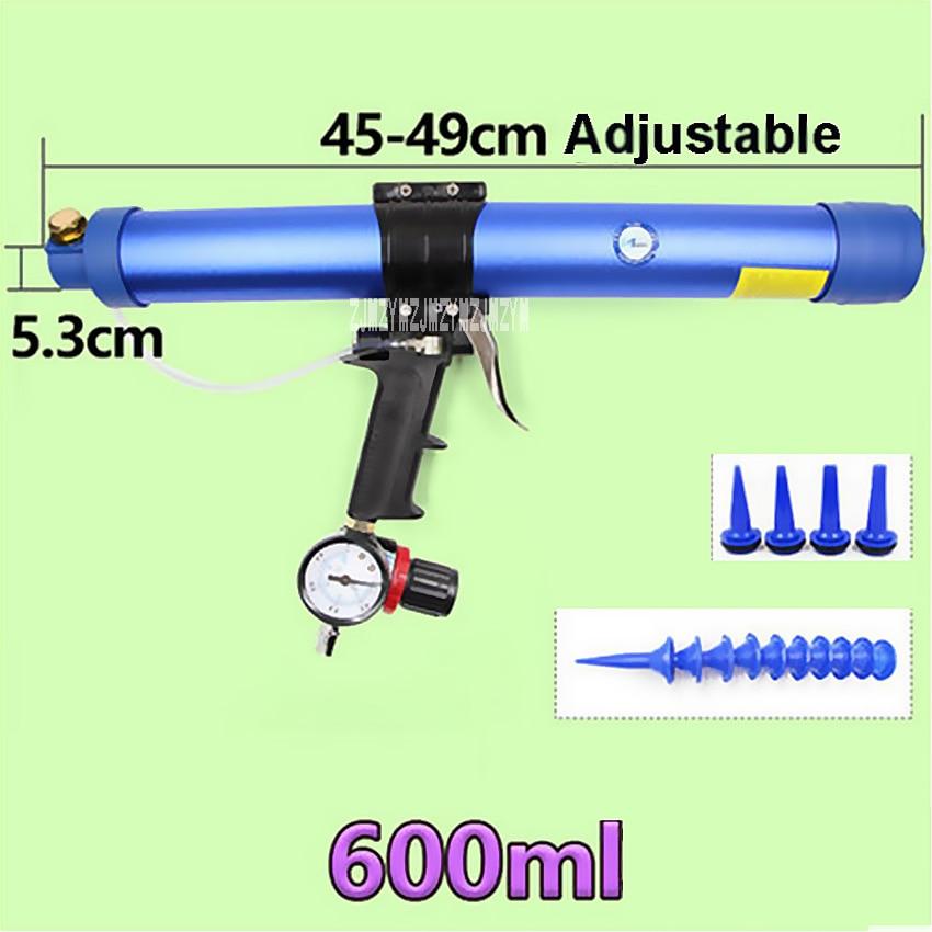 Frugal High Quality 600ml Pneumatic Sausage Cullet Gun Adjustable Speed Pneumatic Glass Glue Gun Rubber Gun Works For 350mm Soft Glue Caulking Gun