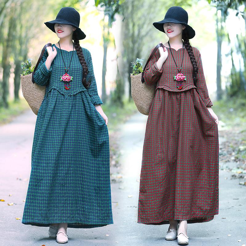 2019 Ethnic Vintage Mori Girl Women Plaid Print Ruffles Cotton Linen Dress Beach Long Sleeve Loose A-line Robe Dress Vestidos