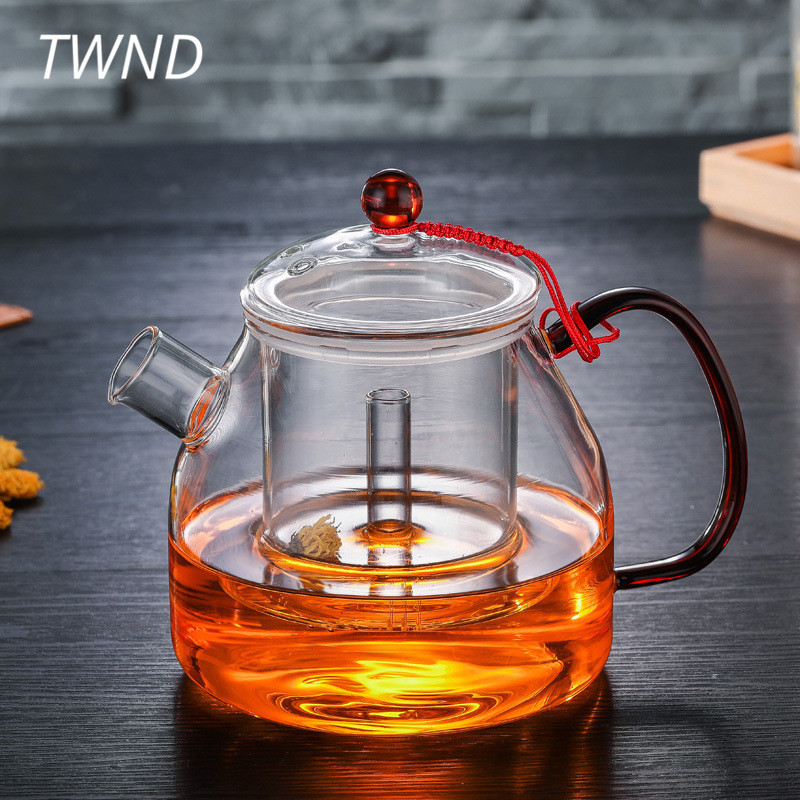 Heat resistant glass teapot large capacity kettle with filter cover kung fu pot tea water drinkware 22