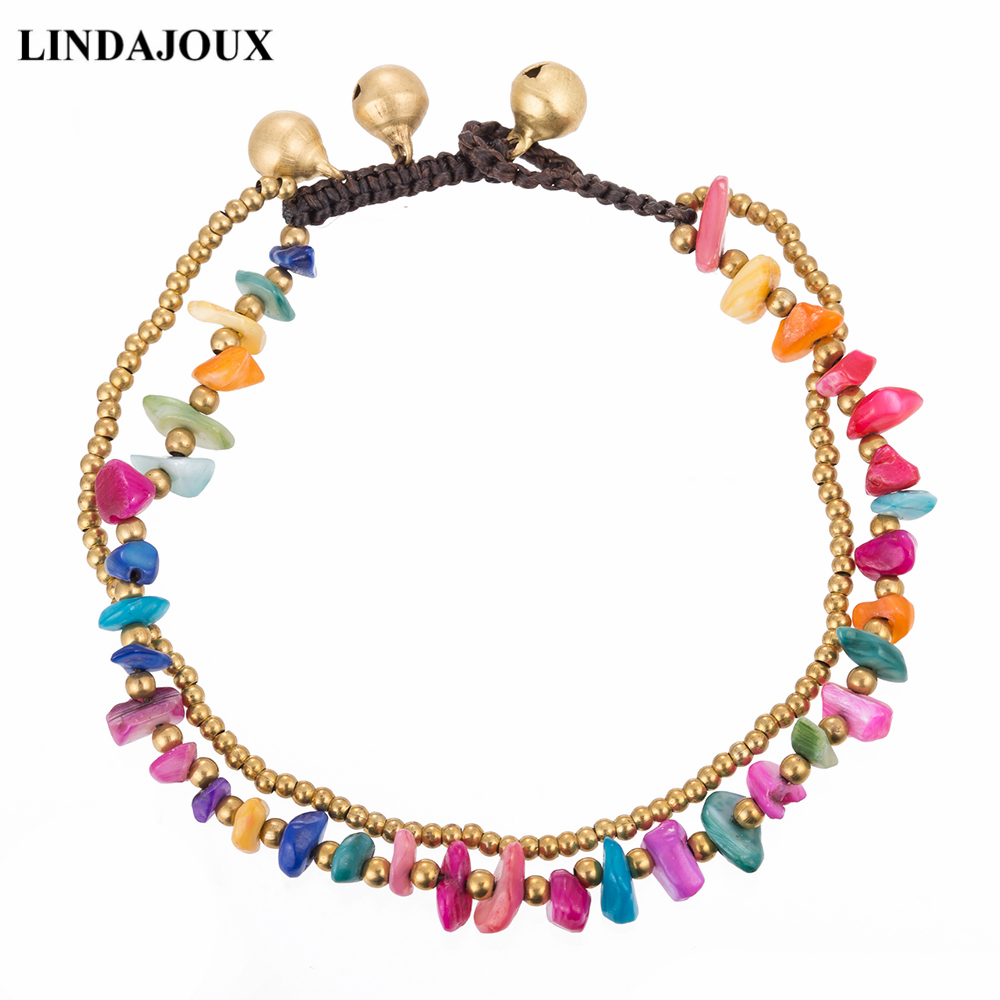 LINDAJOUX 2017 Ethnic Colorful Unregular Stones Beaded Leg Anklets For Women Ankle Bracelet Woman Anklet Female Foot Jewelry