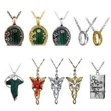 Трендовое винтажное ожерелье Хоббита с зеленым листком, серьги с подвеской, кольцо Властелина одного, Ne(cklace),, Прямая поставка